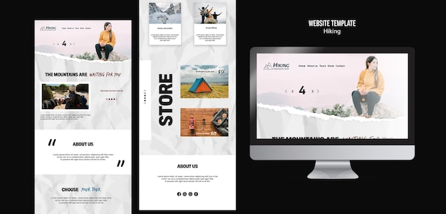 Hiking store landing pages template Free Psd