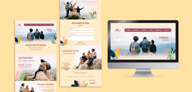 Hiking web concept template Free Psd