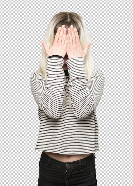 Hippie girl covering her face Premium Psd