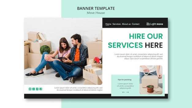 Hire our services banner template Free Psd