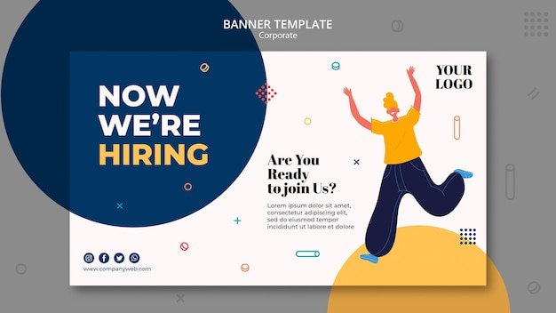 Hiring announcement banner template Free Psd
