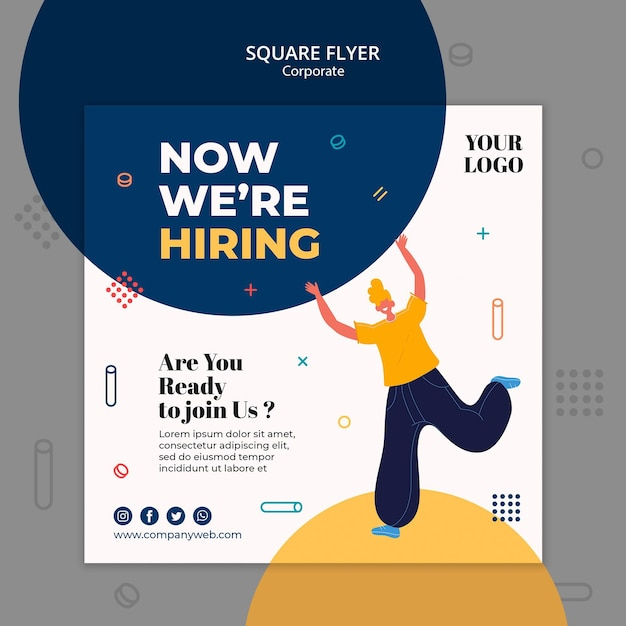 Hiring announcement square fllyer template Free Psd