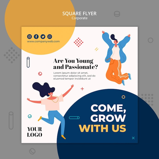 Hiring announcement template square fllyer Free Psd