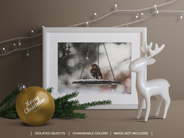 Holiday frame photo card and christmas ball mockup and scene creator with decoration Premium Psd