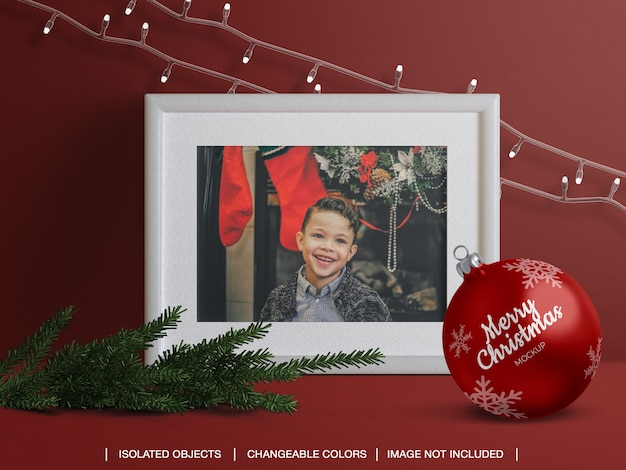 Holiday greeting photo card frame and christmas ball mockup and scene creator Premium Psd