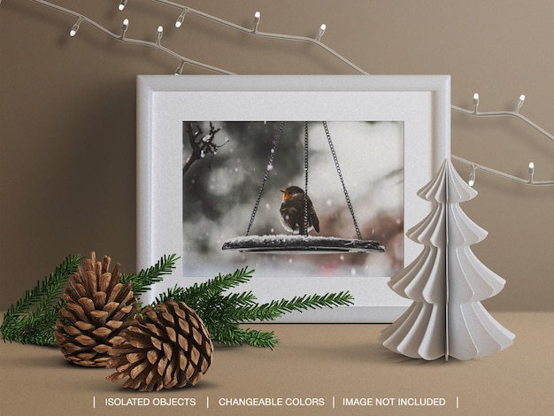 Holiday greeting photo card frame mockup and scene creator with branch Premium Psd