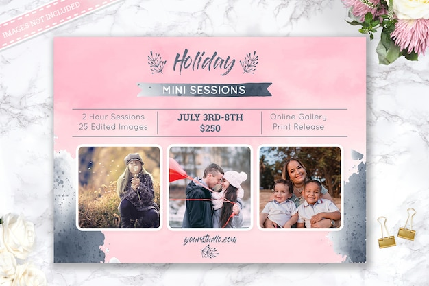 Holiday mini session photography template Premium Psd