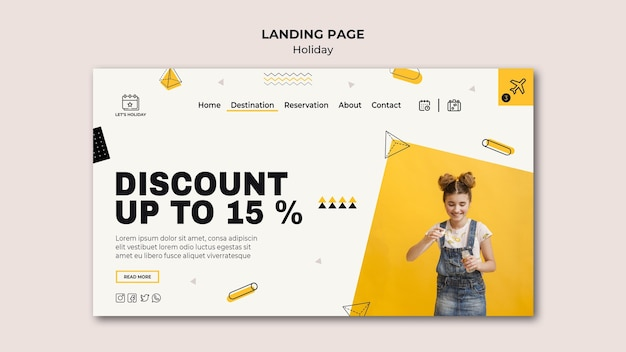 Holiday party and cute girl landing page template Premium Psd
