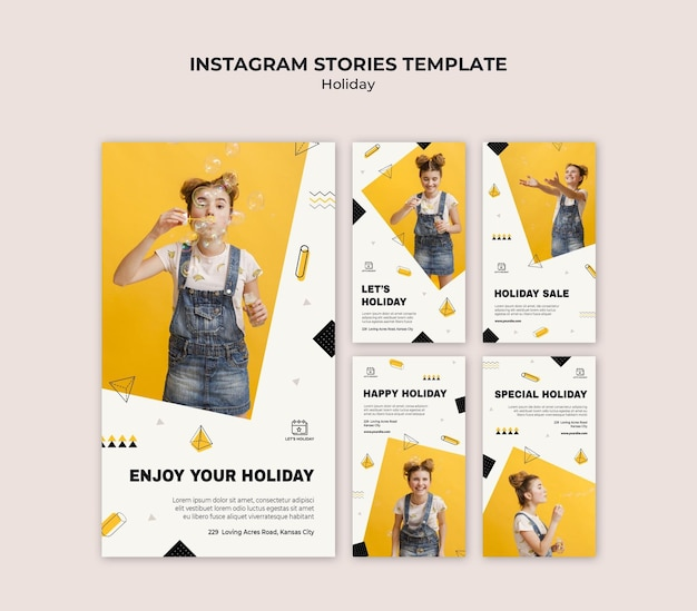 Holiday party instagram stories template Premium Psd