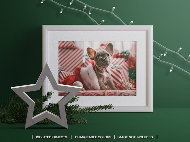 Holiday photo card frame mockup with christmas branch and lights decoration Premium Psd