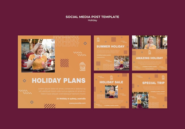 Holiday plans social media post template Free Psd