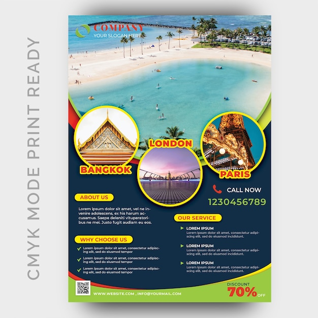 Holiday tour & travel flyer design template Premium Psd
