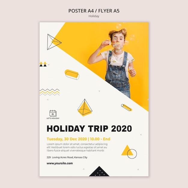 휴가 여행 2020 파티 포스터 템플릿 무료 PSD 파일