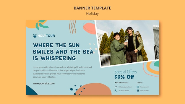 Holidays banner template Free Psd