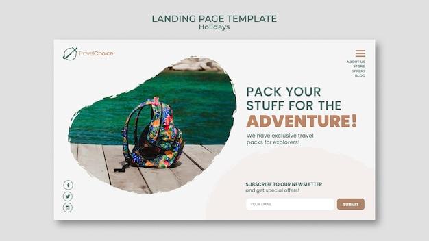 휴일 방문 페이지 템플릿 무료 PSD 파일