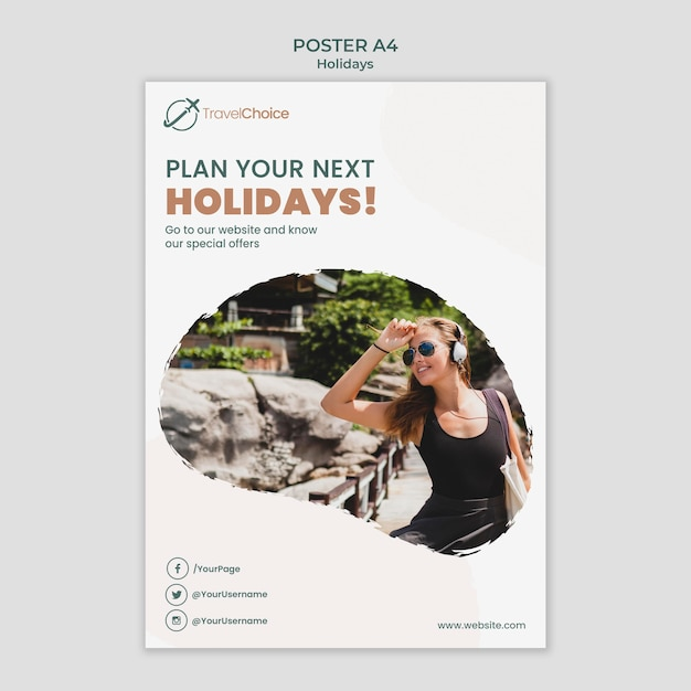 Holidays poster template with photo Free Psd