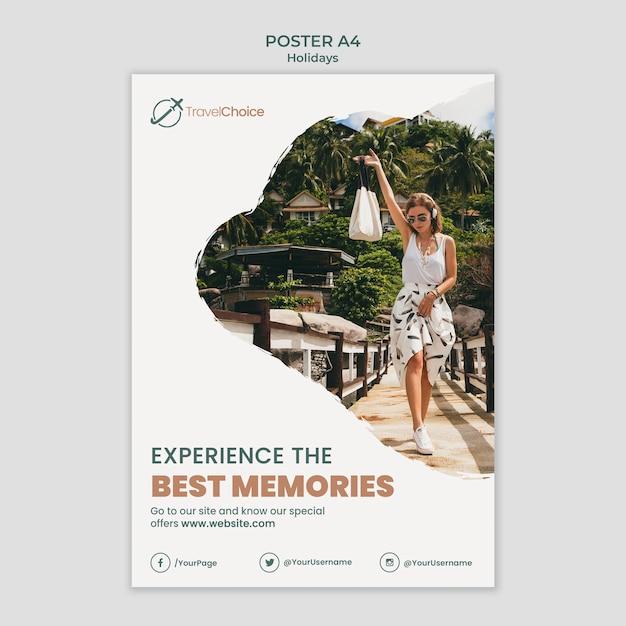 사진과 함께 휴일 포스터 템플릿 무료 PSD 파일