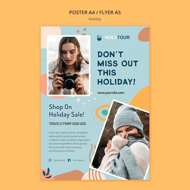 Modello di poster di vacanze Psd Gratuite