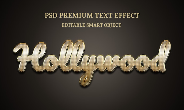 Hollywood text effectportrait of beautiful woman Premium Psd