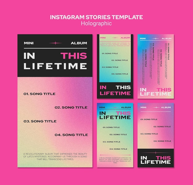ホログラフィックデザインのinstagramストーリーテンプレート Premium Psd