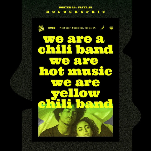 ホログラフィック音楽バンドポスターテンプレート Premium Psd