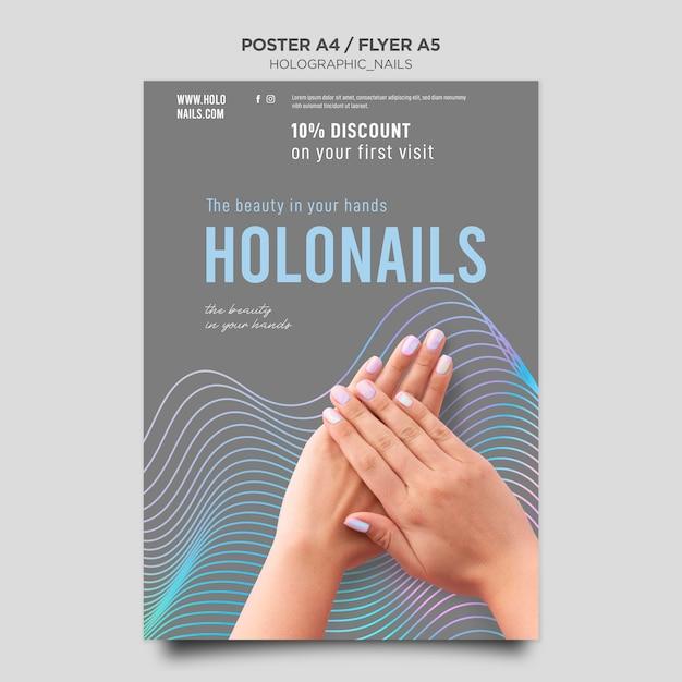 ホログラフィックネイルポスターテンプレート 無料 Psd