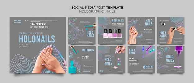 Holographic nails social media post Premium Psd