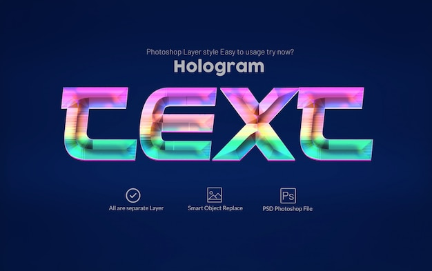 Holographic text style Premium Psd