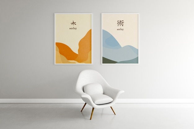 Home arrangement with frames mock-up Free Psd