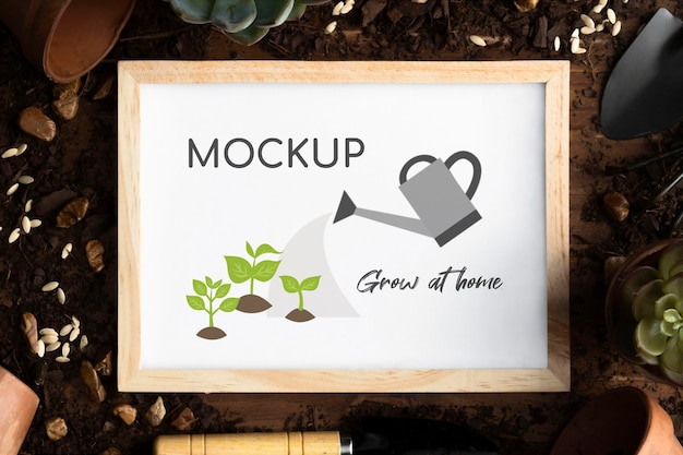 Home gardening assortment with frame mock-up Free Psd