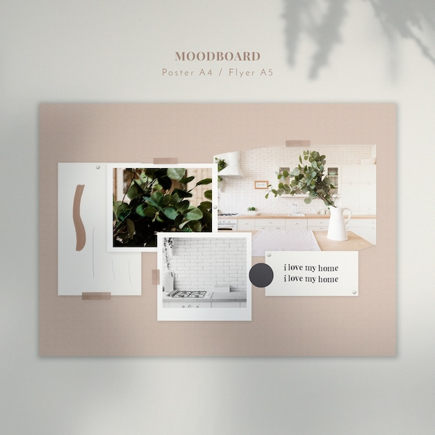 Home interior mood board template Free Psd