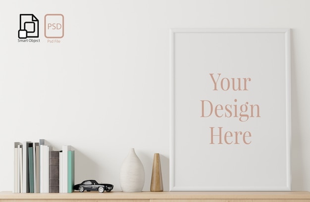 フレーム、本、床と白い壁の背景におもちゃでモックアップのホームインテリアポスター。 Premium Psd