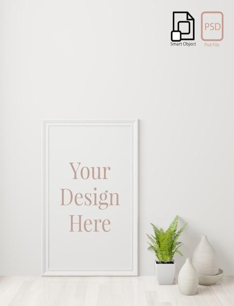 ホームインテリアポスターは、床と白い壁の背景のフレームでモックアップします。 3dレンダリング。 Premium Psd