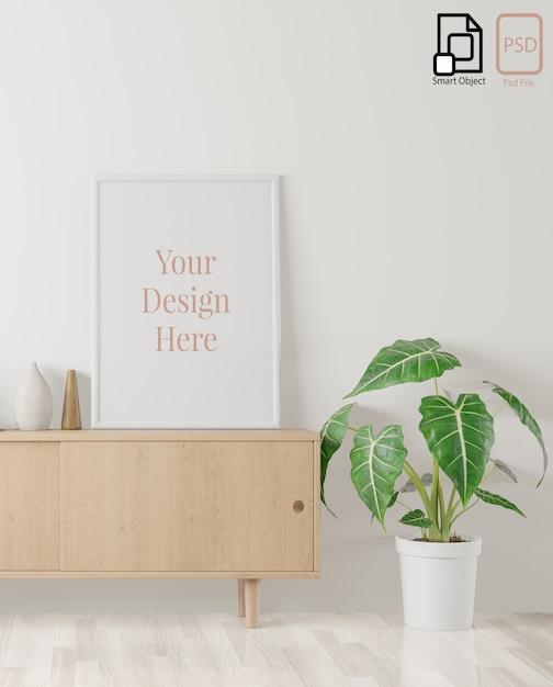 ホームインテリアポスターは、半分のサイドボードと白い壁の背景のフレームでモックアップします。 3dレンダリング。 Premium Psd