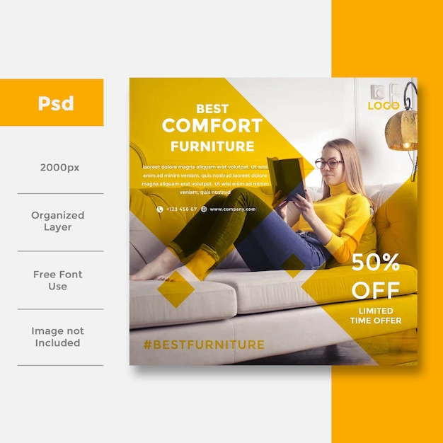 Home interior social media banner ad design Premium Psd