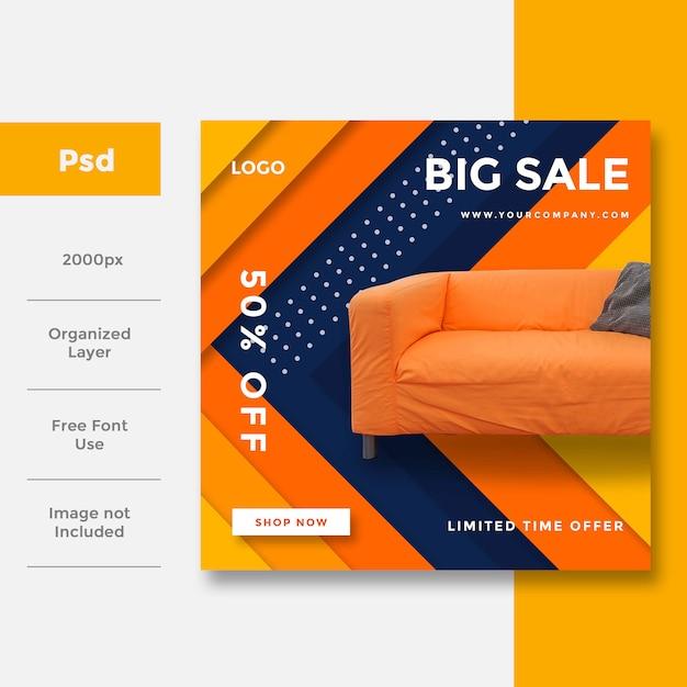 Home interior social media banner ad  layout Premium Psd