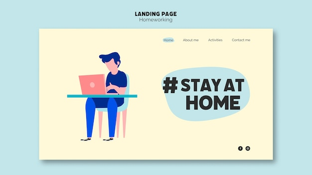 Homeworking at the laptop landing page Free Psd