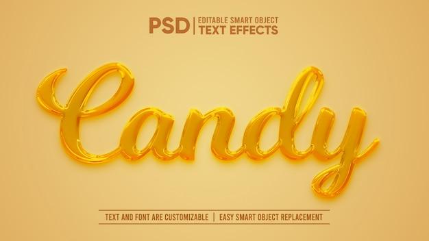 Honey candy 3d editable text effect Premium Psd