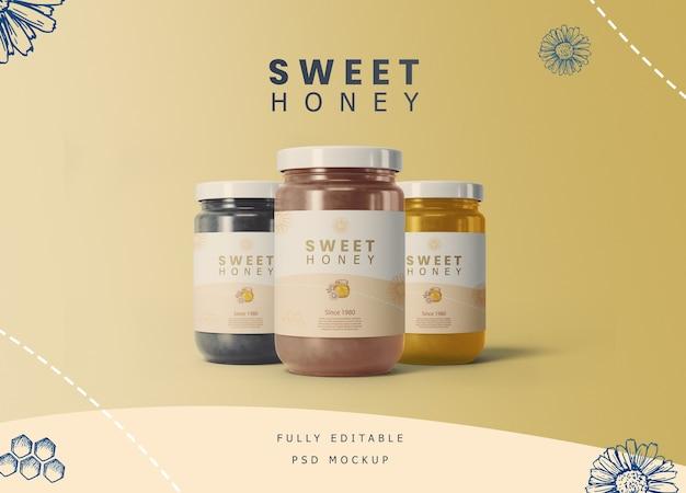 Honey jars with label mockup Premium Psd