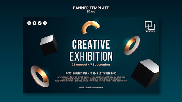 Horizontal banner for art exhibition with creative three-dimensional shapes Free Psd