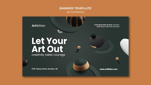 Horizontal banner for art exhibition with geometric shapes Free Psd