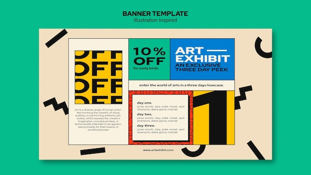 Horizontal banner for art exhibition Free Psd