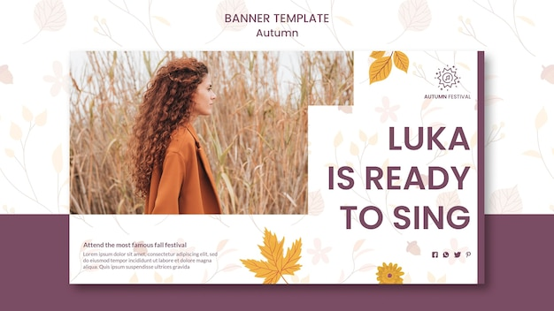 Horizontal banner for autumn concert Free Psd