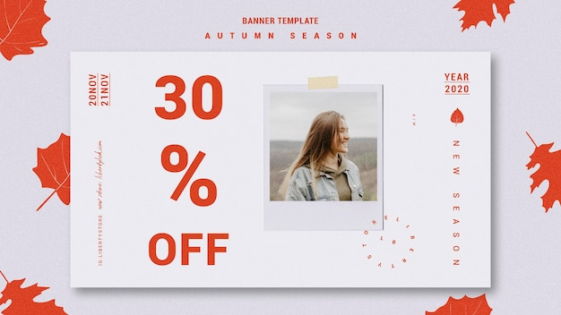 Horizontal banner for autumn new clothing collection Free Psd