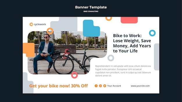 Horizontal banner for bicycle commuting with male passenger Free Psd