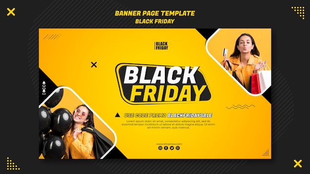 Horizontal banner for black friday clearance Free Psd