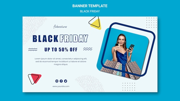 Horizontal banner for black friday with woman and triangles Free Psd