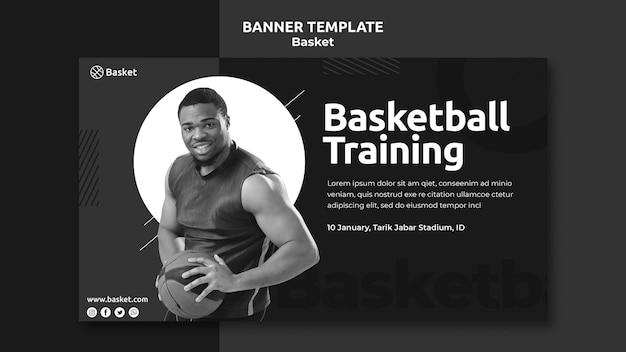 Banner orizzontale in bianco e nero con atleta di basket maschile Psd Gratuite