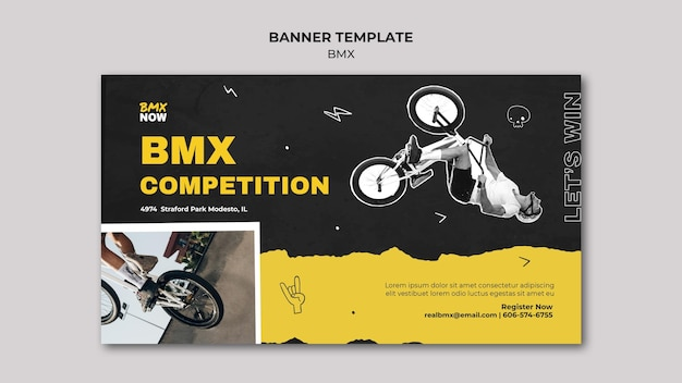 Horizontal banner for bmx biking with man and bicycle Free Psd