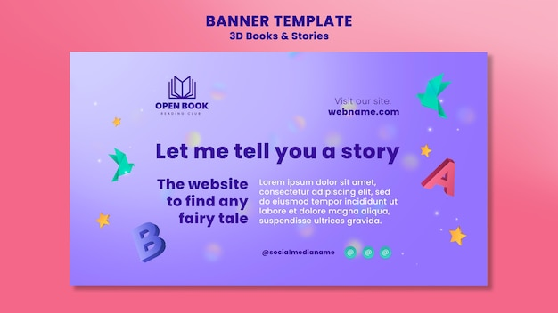 Horizontal banner for books with stories and letters Free Psd